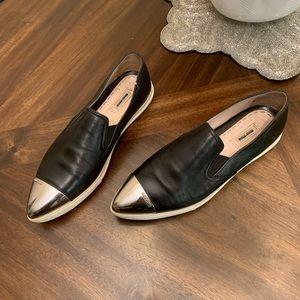 MiuMiu black leather loafers flats fashion sneaker